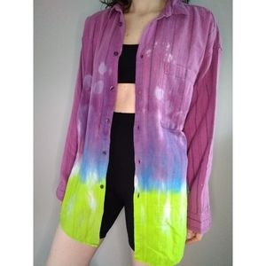Vintage Tie Dyed 90s Oversized Flannel Large